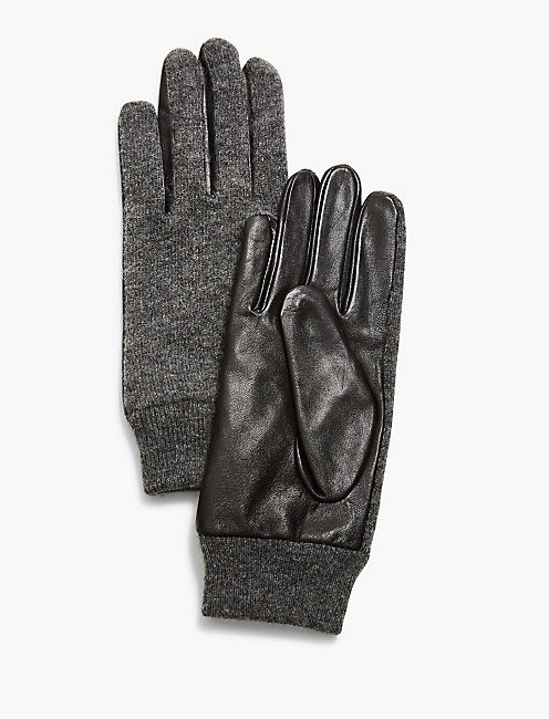 KNIT AND LEATHER GLOVES,
