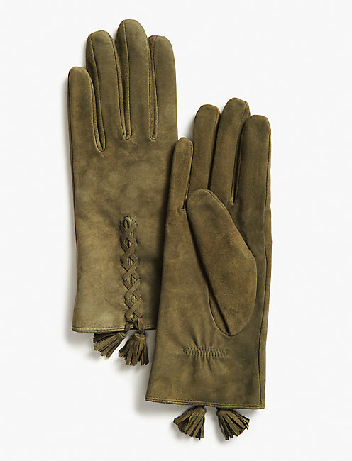 SUEDE TASSEL GLOVES,