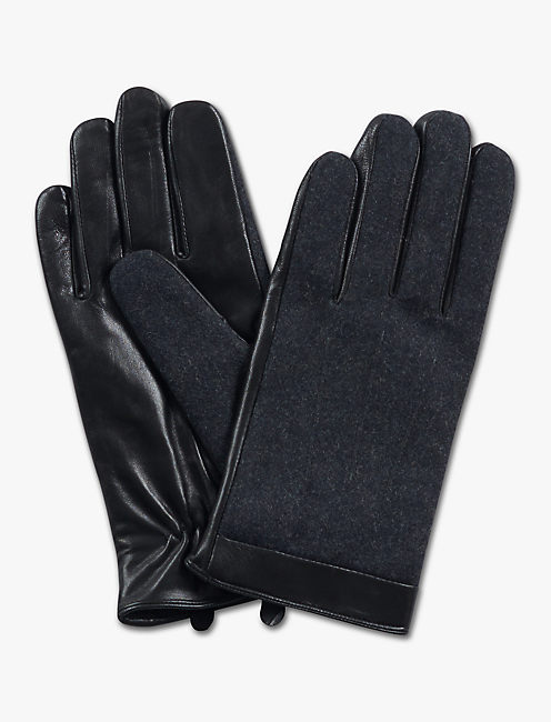 WOOL LEATHER GLOVES, BLACK