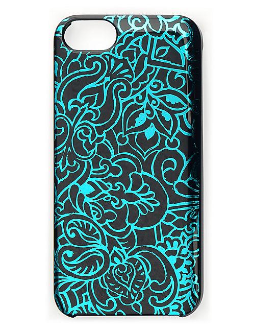 BLUE SCROLL PRINT PHONE, BLUE