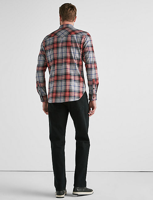 Western Flannel Shirt, RED PLAID