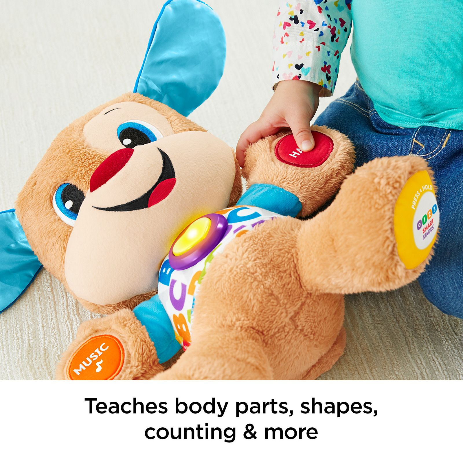Smart Stages Puppy Educational Baby Soft Plush Toy Learn Shape Counting Alphabet