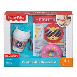 NEW Fisher Price Infant On The Go Breakfast Teether Rattle /& Crinkle Newspaper