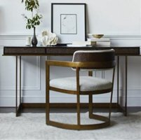 writing desk and chair with brass accents