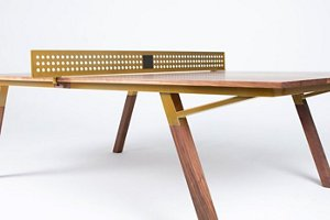ping pong table with brass accents