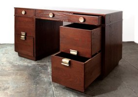 Two pedestal desk with art deco inspired hardware