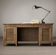 Two pedestal desk with shutter style accents