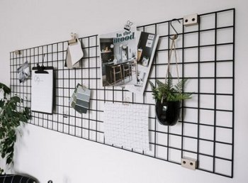 Grid style storage with small hanging decor pieces