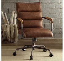 Brown industrial style chair with padding