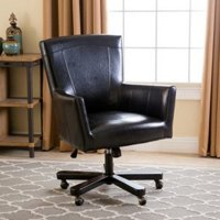 Simple leather mid back chair with straight angles