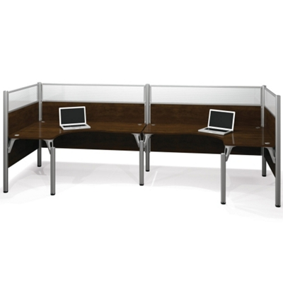 "Double Back-to-Back Open L-Desk Workstation with Four 55.5""H Acrylic Panels"