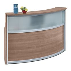 "Compass Reception Desk with Glass Panel - 72""W x 30""D"