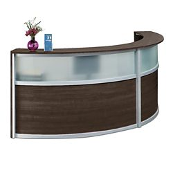 "Compass Double Reception Desk with Glass Panel - 125""W x 48""D"