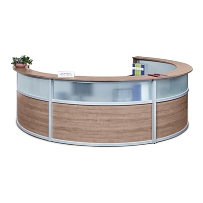 "Compass Four Person Reception Desk with Glass Panel - 140""W x 106""D"