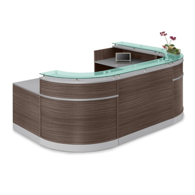 "Esquire Glass Top U-Shaped Reception Desk with ADA Return - 110""W x 79""D"