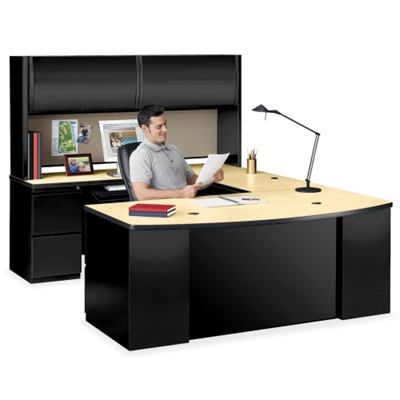 Bowfront U-Desk with Hutch