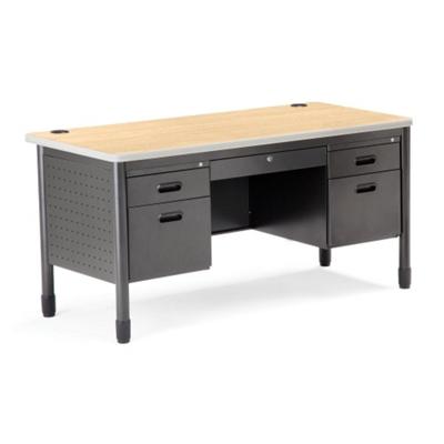 ofm 60 double pedestal desk nbf com rh nationalbusinessfurniture com old metal desk with drawers small metal desk with drawers