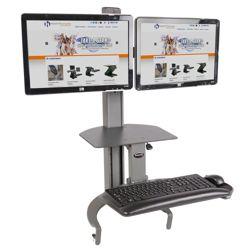Adjustable Height Dual Monitor Desktop Mount