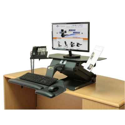 Adjustable Height Monitor Stand with Phone and Document Holders