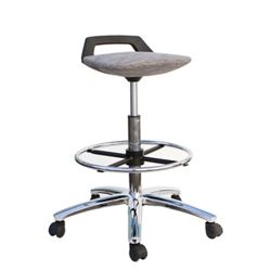 Low Back Tall Fabric Seat Stool with Foot Ring