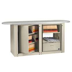 Letter Size Rotary File Work Center with Oval Top