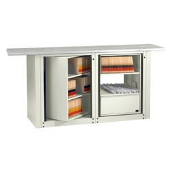 Letter Size Rotary File Work Center with Rectangular Top