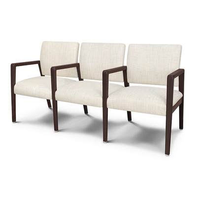 Vinyl Three Seater with Faux Wood Frame