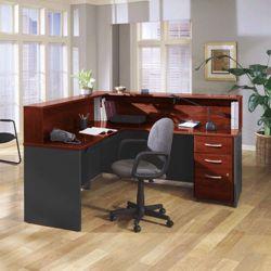 Reversible L Desk with Assembled Pedestals