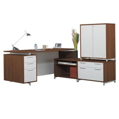 Hi-Low L-Desk with Storage Cabinet