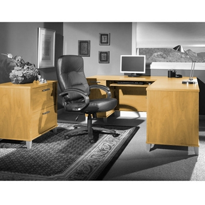 Compact L-Desk with Lateral File