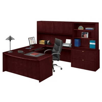 U-Desk with Hutch and Bookcase with Lateral File