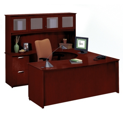 Clever U-Desk with Left Bridge and Hutch