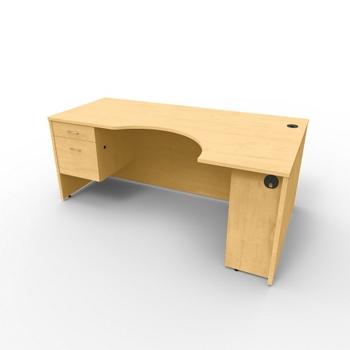 Curved Corner Desk Computer Desk With Slide Out Keyboard Shelf
