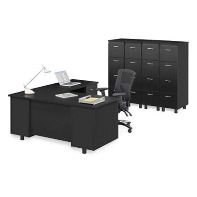 Ascend Right Return L-Desk and Vertical File Storage Wall