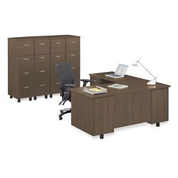 Ascend Left Return L-Desk and Vertical File Storage Wall