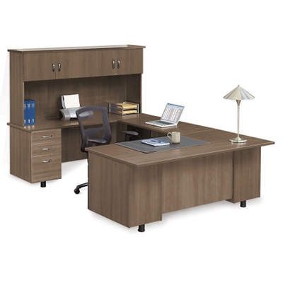 Ascend Left Bridge U-Desk with Hutch