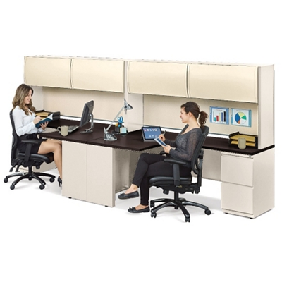 Alloy Two Person J Desk Workstation, 13919