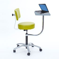 Vinyl Exam Stool with Backrest and Laptop Desk