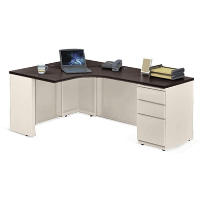 "Alloy Metal Left Hand J-Desk with Pedestal - 72""W"