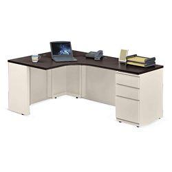 """Alloy Metal Left Hand J-Desk with Pedestal - 72""""W"""