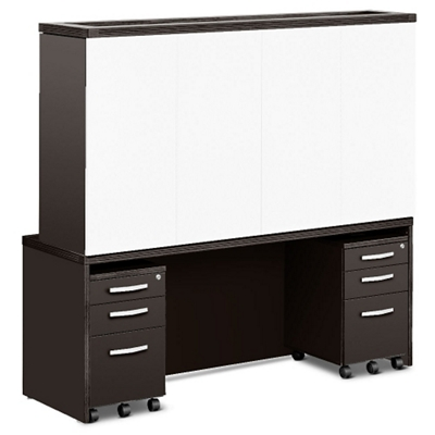 Transcend Credenza with Conference Hutch and Mobile Pedestals