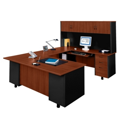U-Desk with Right Bridge and Hutch