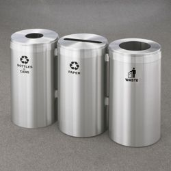 "15"" Diameter Satin Aluminum Connected Recycling and Waste Bins"