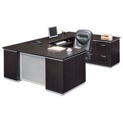 Executive U-Desk with Right Bridge and File Credenza - Fully Assembled