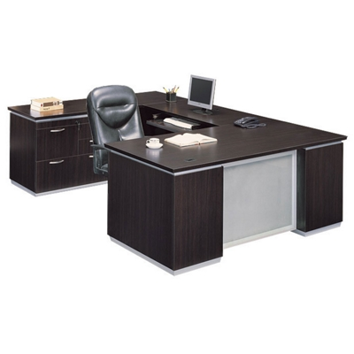 Executive U-Desk with Left Bridge and File Credenza - Fully Assembled