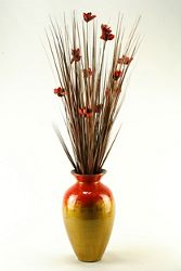 """Brown Ting With Red Blossoms- 56""""H"""