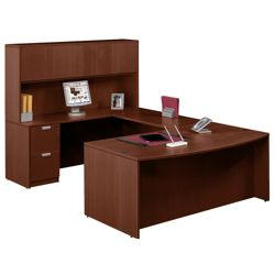 "Contemporary Bow Front U-Desk and Hutch - 71""W x 113""D"