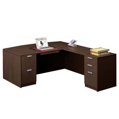 "Contemporary Bow Front L-Desk - 71""W x 89""D"