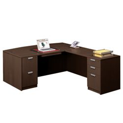 "Contemporary Bow Front L-Desk - 71""W x 89""D"
