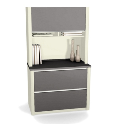 Two Drawer Lateral File with Hutch